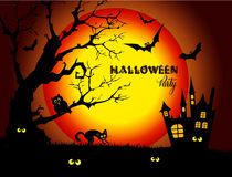 Halloween night background with full Moon and black cat. Stock Images