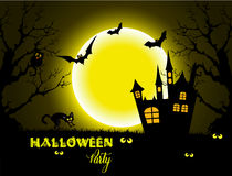 Halloween night background with full Moon and black cat. Royalty Free Stock Photos