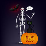 Halloween night background with full moon, cute dancing skeletons and bats. Stock Photo