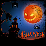 Halloween. Night background with full Moon. The moon is laughing at a cat Stock Photography