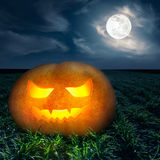 Halloween night background on the full moon Stock Images