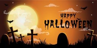 Halloween night background,Gravestones and full moon. Vector illustration vector illustration