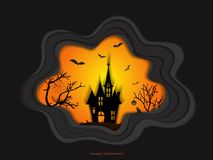 Halloween night background with haunted house and spooky forest with dead trees, illustration happy halloween vector desig Royalty Free Stock Photography