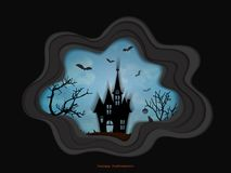 Halloween night background with haunted house and spooky forest with dead trees, illustration happy halloween vector desig Stock Image