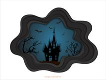 Halloween night background with haunted house and spooky forest with dead trees, illustration happy halloween vector desig Stock Images
