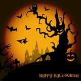 Halloween night background with haunted house, tree, pumpkin and bats. Vector Stock Photo