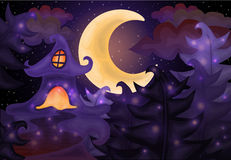 Halloween night background with haunted house Stock Images