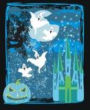 Halloween night background - haunted house Stock Photos