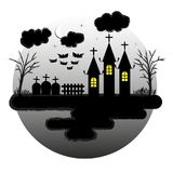 Halloween Night background. That have moon, star, cloud, bat, church, tree, grave and other Royalty Free Stock Images