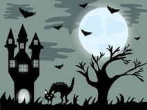 Halloween night background with creepy house and cat Stock Photography
