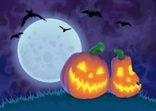 Halloween night background with Moon and Jack O` Lanterns, illustration. Royalty Free Stock Image