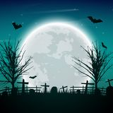 Halloween night background with naked trees, bat and full moon o. N dark background.Vector illustration Royalty Free Stock Image
