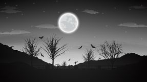 Halloween night background with naked trees, bat and full moon o. N dark background.Vector illustration Royalty Free Stock Photography
