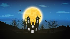 Halloween night background with naked trees, bat haunted house a. Nd full moon on dark background.Vector illustration Stock Image