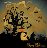 Halloween night background with pumpkin Stock Photos