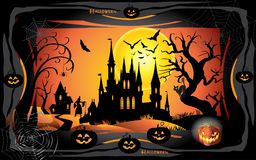 Halloween. Night background with pumpkin, bat, spider web, fantasy forest, haunted house and full moon. Poster or invitation template for  party, adwertising Stock Photo