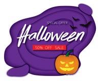 Halloween night background with pumpkin, bats sale promotion Pap Vector Illustration