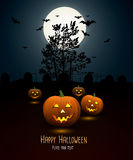 Halloween night background with pumpkin and full moon Stock Images