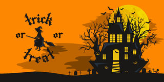 Halloween night background with pumpkin full moon and trick or treat Royalty Free Stock Photo
