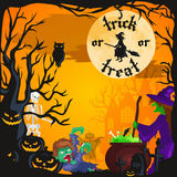 Halloween night background with pumpkin full moon and trick or treat text vector illustration Royalty Free Stock Images