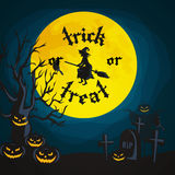 Halloween night background with pumpkin full moon and trick or treat text vector illustration Royalty Free Stock Image