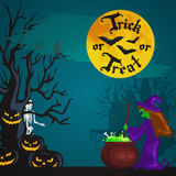 Halloween night background with pumpkin full moon and trick or treat text vector illustration Stock Photography
