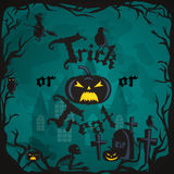 Halloween night background with pumpkin full moon and trick or treat text vector illustration Stock Images