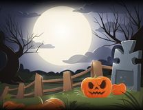 Halloween night background with pumpkin, grave and big moon. Vector illustration vector illustration