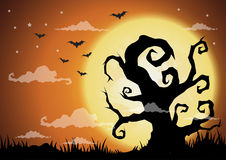 Halloween night background with pumpkin, haunted house and full Stock Photography