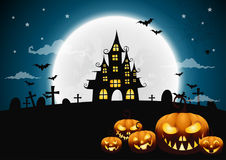 Halloween night background with pumpkin, haunted house Stock Photo