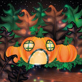Halloween night background with pumpkin house Stock Images