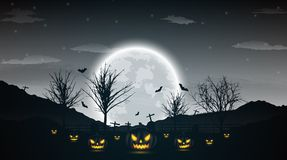 Halloween night background with pumpkin, naked trees, bat and fu. Ll moon on dark background.Vector illustration Stock Photography