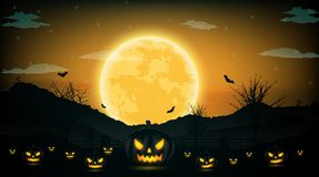 Halloween night background with pumpkin, naked trees, bat and fu. Ll moon on dark background.Vector illustration Royalty Free Stock Photos