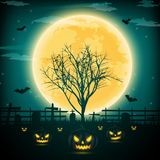 Halloween night background with pumpkin, naked trees, bat and fu. Ll moon on dark background.Vector illustration Royalty Free Stock Photo