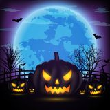 Halloween night background with pumpkin, naked trees, bat and fu. Ll moon with dark background.Vector illustration Royalty Free Stock Images
