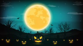 Halloween night background with pumpkin, naked trees, bat and fu. Ll moon on dark background.Vector illustration Stock Image