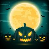 Halloween night background with pumpkin, naked trees, bat and fu. Ll moon with dark background.Vector illustration Stock Images