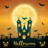 Halloween night background with pumpkin, naked trees, bat haunte. D house and full moon on dark background.Vector illustration Stock Images