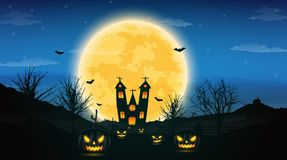 Halloween night background with pumpkin, naked trees, bat haunte. D house and full moon on dark background.Vector illustration Royalty Free Stock Images
