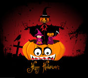 Halloween night background with pumpkin Stock Photography