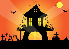 Halloween night background with pumpkins and black bat, illustration Royalty Free Stock Images