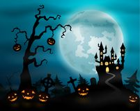 Halloween night background with pumpkins, castle and full moon Royalty Free Stock Photography