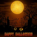Halloween night background with pumpkins in graveyard on the full moon Stock Photography