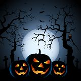 Halloween night background with pumpkins and haunted forest Royalty Free Illustration
