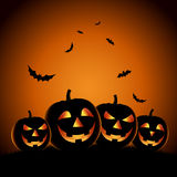 Halloween night background with pumpkins template Royalty Free Stock Images