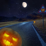 Halloween night background on the road Royalty Free Stock Photography
