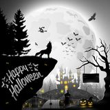 Halloween night background with roaring wolves. Illustration of Halloween night background with roaring wolves Royalty Free Stock Images