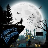 Halloween night background with roaring wolves. Illustration of Halloween night background with roaring wolves Stock Photo