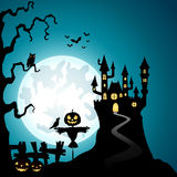 Halloween night background with the scarecrow Royalty Free Stock Photography