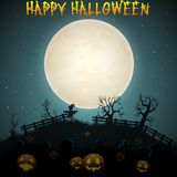 Halloween night background with scarecrow and pumpkins Royalty Free Stock Images